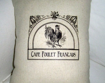 French Country Rooster Cafe Pillow, Paris Inspired Country Cushion, European Farmhouse Shabby Chic Home Decor
