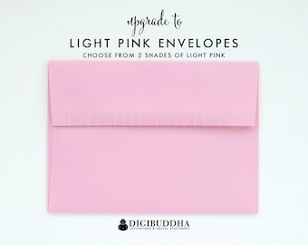 Upgrade to LIGHT PINK ENVELOPES Blush Pink Add-On for any digibuddha Invitations or Thank You Cards. Wedding Bridal Shower Baby Shower