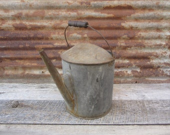 Antique Metal Galvanized Watering Can Wood Handle Automotive Radiator Possibly Railroad Train Fill Can Industrial Decor vtg Rustic Gardening