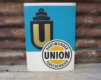 Vintage Metal Sign Dortmunder Union Flaschenbier Bier Sign Beer Sign Vintage 1970s 1980s Era Tin Metal Sign Bar Sign German Germany Beer