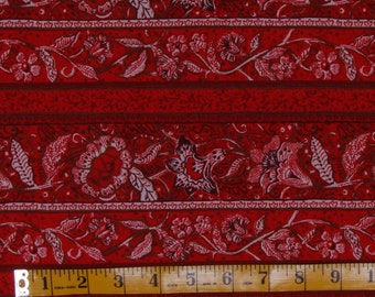 Fantasy Floral border print fabric by Fabri-Quilt, Design 9185, red colorway, stripe fabric.