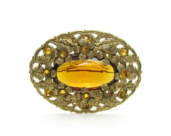 Topaz Rhinestone Brooch Vintage Gold Filigree Pin with Flowers & Amber Rhinestones