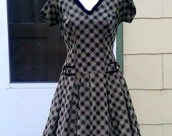 Vintage 1950s Brown Plaid Cocktail Party Dress  Rockabilly VLV Small Medium I Love Lucy