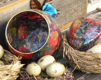 Vintage Two Piece Egg Decor ~ Made of Colorful Paper Mache and Glass ~ Candle Display or Vase ~ Spring Decor
