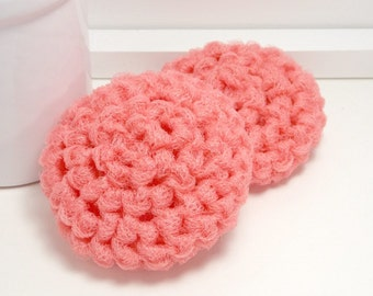 Hand Crochet Dish Scrubbies - Reusable Grapefruit Scouring Pads - Set of 2 - Gifts Under 5