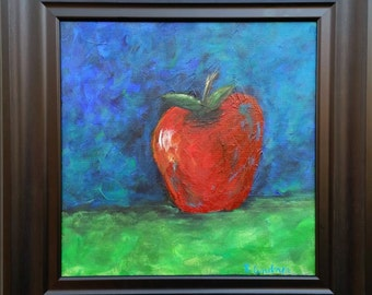 12 x 12 Inch Small Original Acrylic Apple Painting