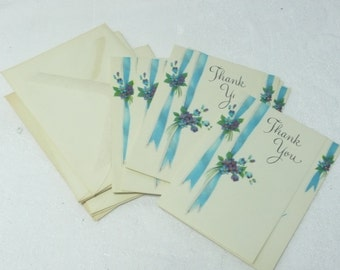 7 Small Vintage Thank You Cards and Envelopes.