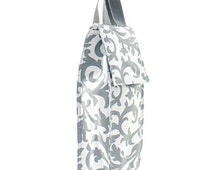 Personalized Wine Tote Insulated Damask Print Embroidered