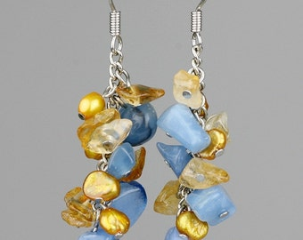 chunky gemstone chips dangling chandelier earrings bridesmaids gifts Free US Shipping handmade Anni Designs