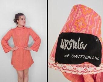 Tribal Mini Dress 60s Ursula of Switzerland Flared Sleeves Hot Pink Orange Small