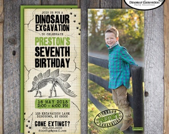 Dinosaur Invitation | Dinosaur Photo Invitation | Dinosaur Birthday Invitation | Dino Dig Party Invitation | Address Label | Printable