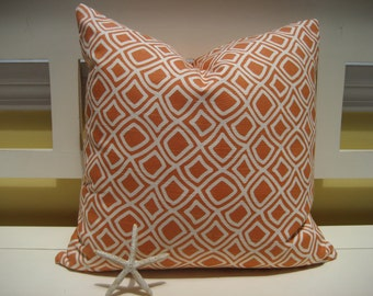Decorative Pillow Cover - Duralee Kilburn Melon - Trellis - Modern - Orange