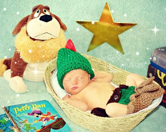 Crochet Disney's Peter Pan (beanie/hat, diaper cover, and booties)
