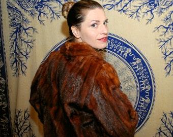 Minks For Me 1950s Vintage Ben Spector Master Furrier Mink Fur Stole Swing Cloak Coat Sz Medium
