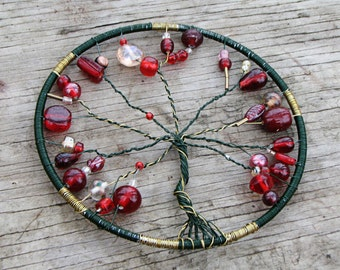Beautiful Red, Green, & Gold Metal Tree of Life Sun Catcher/ Window Ornament