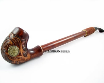 "Churchwarden Tobacco Pipe ""NORDIC"" Wooden Smoking Decorated with Leather, Handcrafted  Pipes of Pear Wood 13'', Designed for pipe smokers"