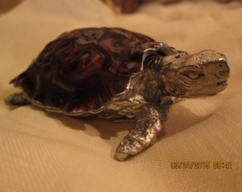 "turtle, sea turtle michael michaud, box 3 1/2"" long x 2 3/4"" wide antique pewter"
