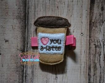 Coffee-Felt Hair Clip - Baby Girl Hair Accessories -Embroidered Felt frappe Hair Feltie Clippie For Girls-food clip-No Slip Grip