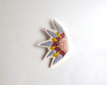 Embroidered abstract brooch starburst design with gray, yellow and pink and rose quartz crystal gems hand embroidered Spring,Summer fashion