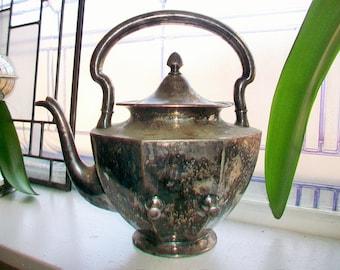 Antique Silver Plate Teapot Wilcox 1800s Tilting Teapot No Stand