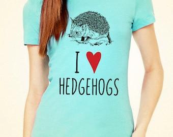I Love (Heart) Hedgehogs design2 tee shirt - Soft Cotton T Shirts for Women, Men/Unisex, Kids