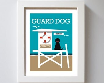 Beach Dog Personalized Dog Black Lab Beach Art Yellow Labrador Retriever Beach House Lifeguard Chocolate Lab Black Dog