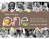 Jungle Fun Timeline 1st Birthday Invitation (Girl) - Digital File