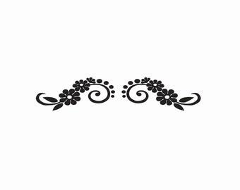 Daisy Scroll Decal Flower Design Sticker #106