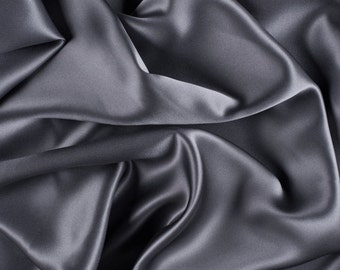 "42"" Wide Stretch Silk Charmeuse Gray By the Yard"