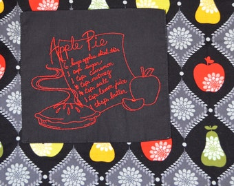 Apple Pie Apron with an Embroidered Pocket - Reversible