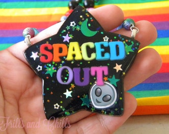 Spaced Out Alien Emoji Resin Necklace