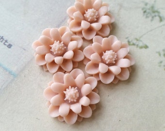 22 mm Tan Brown Color Big Daisy Chrysanthemum Resin Flower Cabochons (.gg)