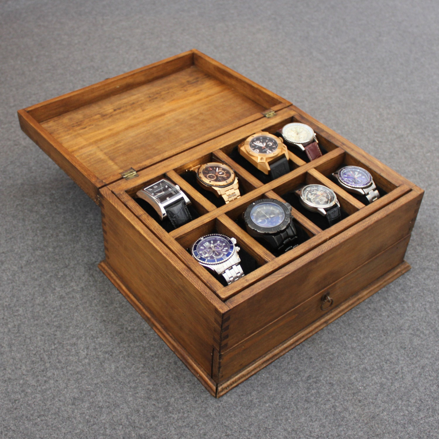 Personalized rustic men 39 s watch box for 8 by ourweddinginvites for Men s valet box