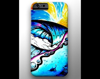 Cell Phone Case | Waves Shark Painting iPhone 4 4s 5 5s 5c 6 Case, Samsung Galaxy Hard Plastic Cover, Nature Art, Ocean Art, Wave Phone Case