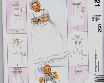 New McCalls CHRISTENING GOWN PATTERN Express Yourself m6221 Infant Pattern Sz Osz  Gown-Romper-Bonnet Uncut Factory Folded