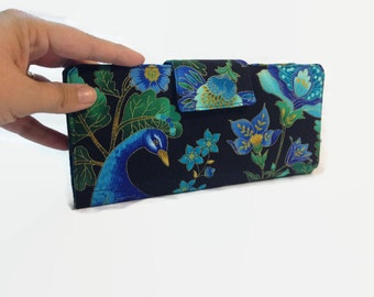 Credit Card Organizer, Bi fold credit card holder, 38 Card Organizer, Peacock Card Wallet, credit card holder, Womens Wallets
