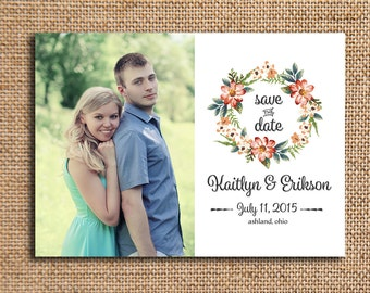 Photo Wedding Save the Date - Engagement Announcement - 5x7 Cardstock - Set of 20 - Watercolor Wreath
