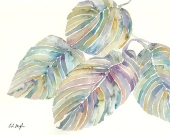 Palm Fronds Art,  Original Watercolor Painting 8x10, purple, green, gold, blue, tropical leaves, wall decor