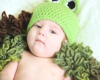 Frog Hat & Diaper Cover Set, Crochet Baby Beanie Cap,  Halloween Costume, Photography Prop