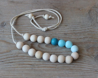 Teal Blue Wood Necklace / Color Block Necklace / Geometric Necklace