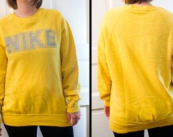 80s NIKE sweatshirt - Vintage yellow pullover - 1980s sweater long sleeve