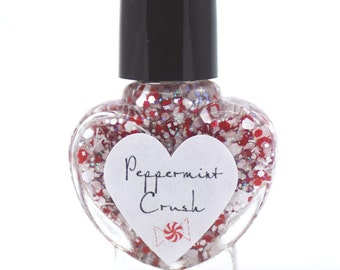 Peppermint Crush Red and White Glitter Nail Polish 5ml Mini Bottle