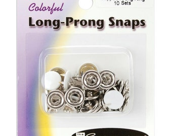 White Long Prong Snaps Size 16 snaps Capped Long-Prong Snaps 10/Pkg, White Caps 16201