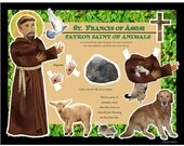 St Francis of Assisi patron saint of animals DIY craft project paper doll digital download