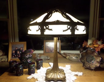 Antique Slag Glass Lamp:  Carmel Slag Glass Lamp...Victorian Folk Vintage Lighting Table Lamp Parlor Lamp Cottage Chic  Pittsburg Lamp Brass