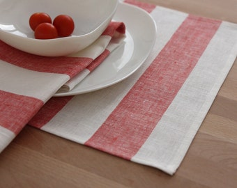 Set of 4 linen Placemats Striped White Red