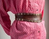 Vintage Womens Wide Genuine Leather Studded Belt