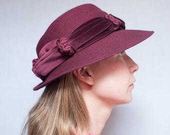 Vintage Plum Felt Brimmed Hat with Velvet Trim