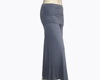 Palazzo Wide Leg Pants-Skirted Ruched Hip-Yoga-Eco Friendly,Hand Dyed Bamboo/Organic Cotton-Custom Size and Color-Made to Order-XXS to Large
