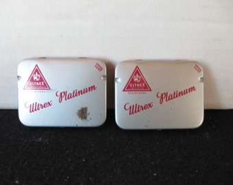 Two Vintage condom tins Ultrex Platinum